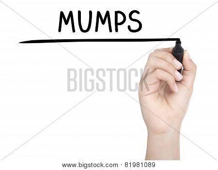 Hand With Pen Writing Mumps On Whiteboard