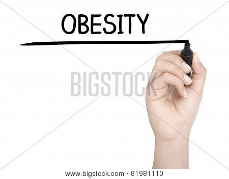 Hand With Pen Writing Obesity On Whiteboard