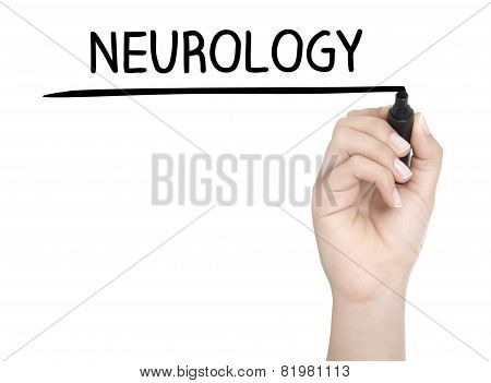 Hand With Pen Writing Neurology On Whiteboard