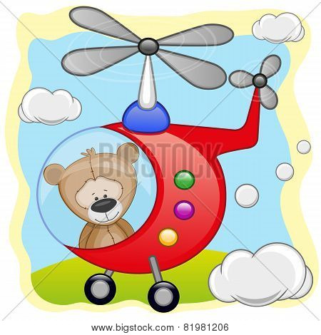 Teddy Bear In Helicopter