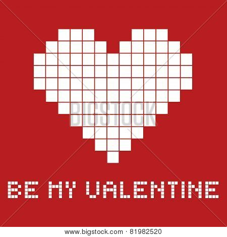 Gift Card For A Valentines Day In Pixel Art Style, Vector Illustration