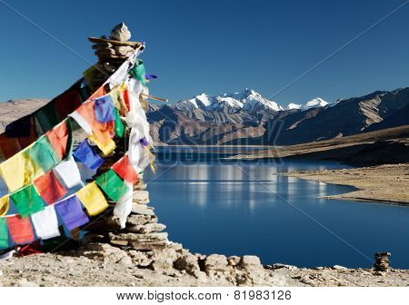 Tso Moriri Lake With Prayer Flags