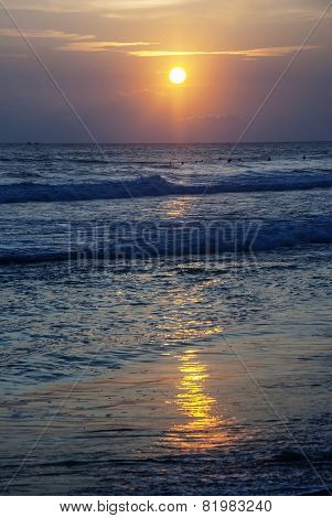 Sunset on the coast of the Indian Ocean
