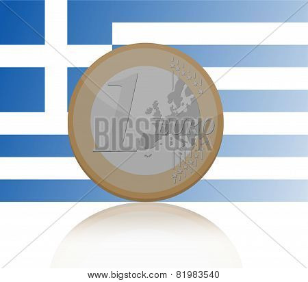 Vector illustration of one Euro coin with reflection with Greece flag on background