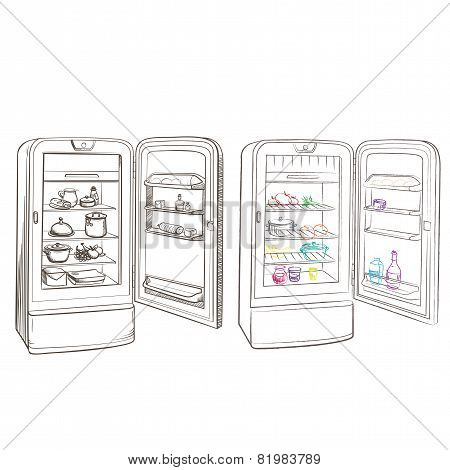 Separate Image Retro Refrigerator With Products Made In The Thumbnail Style