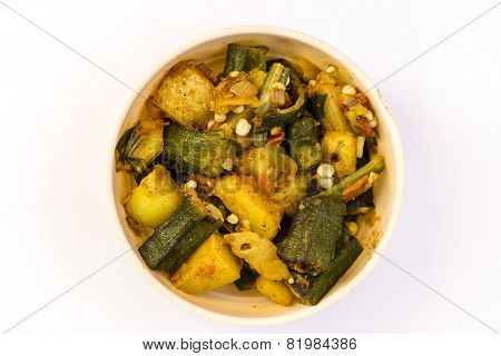 Indian cooked vegetable okra and potato fry ~ Punjabi style