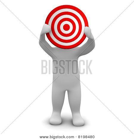 Man holding red target