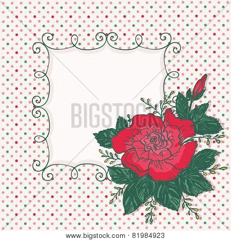 Vintage card with rose flower and frame