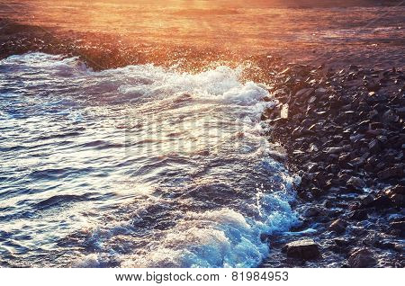 Wave On The Seacoast At Sunset