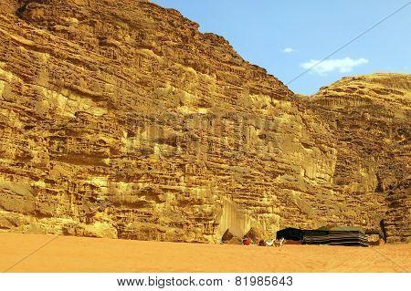 Camp And Tent  In The Desert Of Jordan