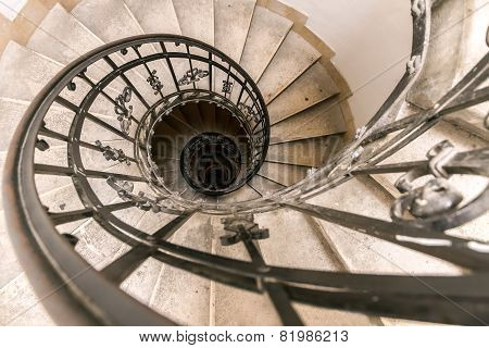 A Spiral Staircase In The Cathedral Of Budapest