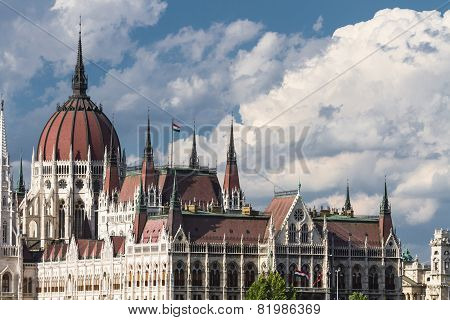 Gothic Parliament Building In Budapest On Blue Sky Background