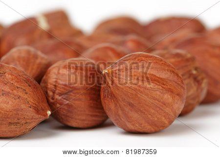 Heap of peeled hazelnuts macro photo