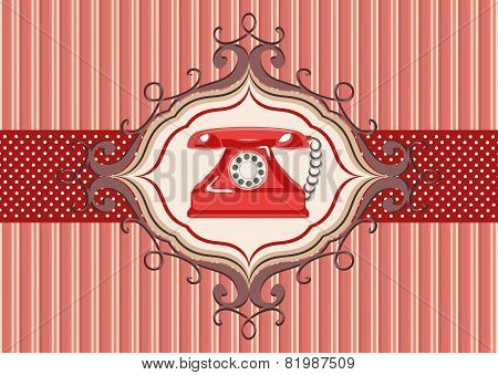 Vintage card with old red telephone