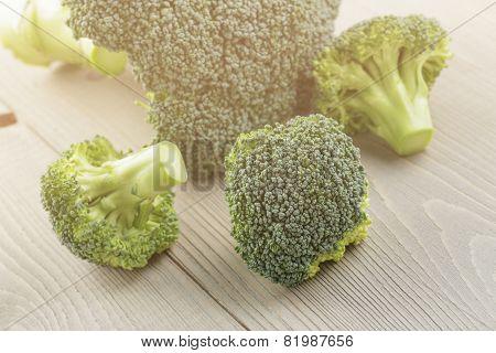 fresh broccoli cabbage on wood table