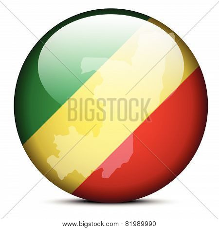 Map On Flag Button Of Republic Of The Congo
