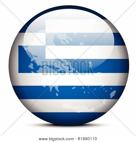 Map On Flag Button Of Hellenic Republic, Greece
