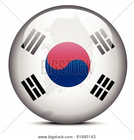 Map On Flag Button Of Republic Of Korea, South Korea