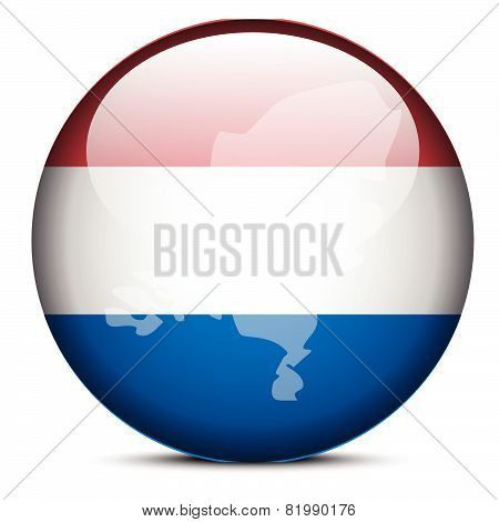 Map On Flag Button Of Kingdom Of The Netherlands
