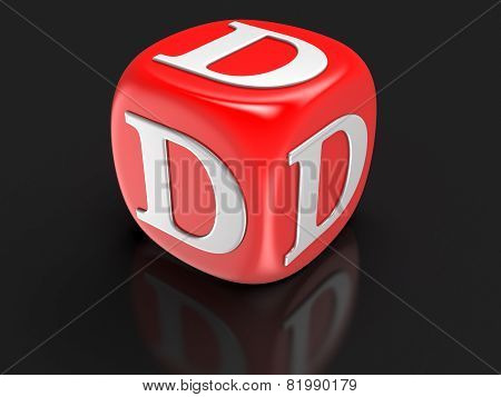 Dice with letter D (clipping path included)