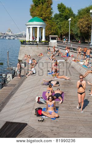 People Relaxing At Olive Beach In Gorky Park