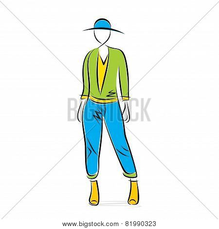 sketch fashion model posing design vector