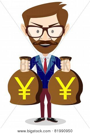 Bisnesmen bag holds the yen, vector illustration