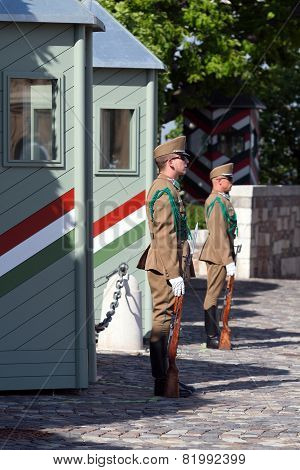 Budapest, Hungary, 15 June 2012 - Employees Of A Military Guard In Budapest, Hungary