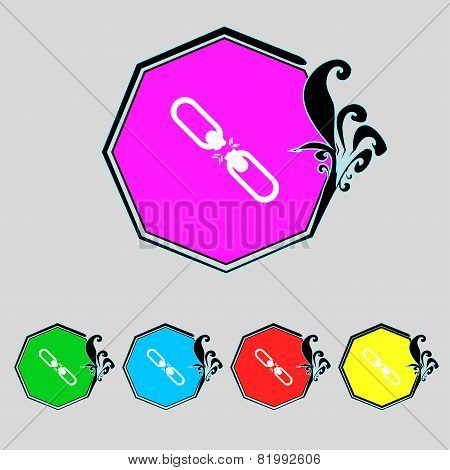 Broken Connection Flat Single Icon.set Colur Buttons. Vector