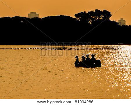 Silhouette Couple In Swan Pedal Boat On Sunset