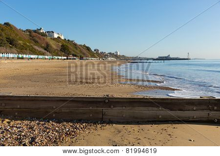 Bournemouth beach pier and coast Dorset England UK near to Poole known for beautiful beaches