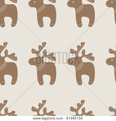 Pattern With Christmas Reindeer Cookie