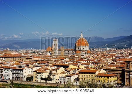 Florence And Saint Mary Of The Flower Panoramic View, Tuscany, Italy