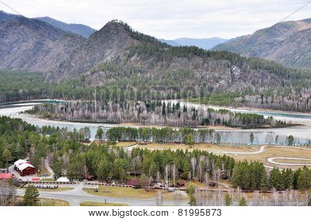 the Katun ' river flows in Siberia in the Altai mountains