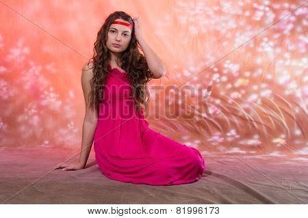 Beautiful teen girl in red dress