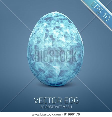Abstract vector egg. 3D mesh object. Futuristic style card.