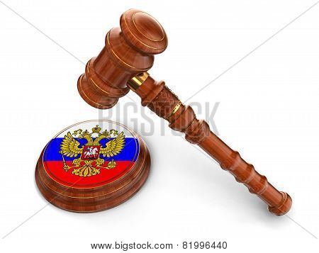 Wooden Mallet and Russian flag (clipping path included)