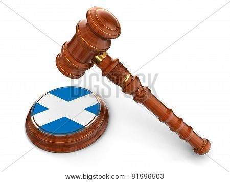 Wooden Mallet and Scottish flag (clipping path included)