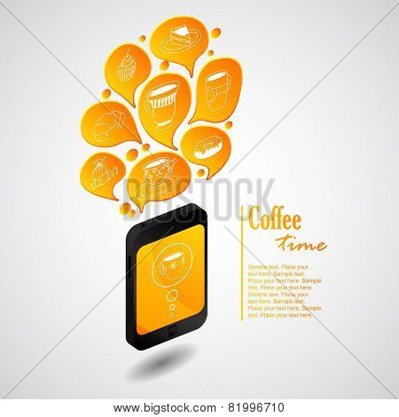 Ringing phone with bubbles of coffee
