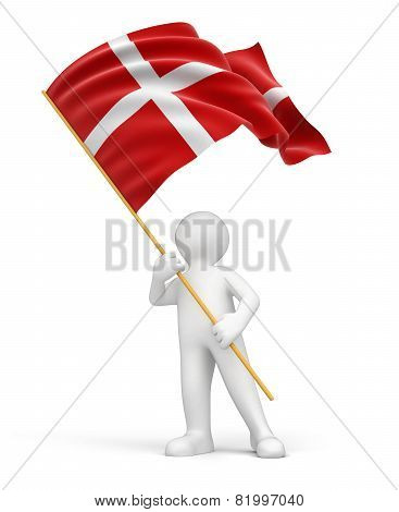 Man and Danish flag (clipping path included)