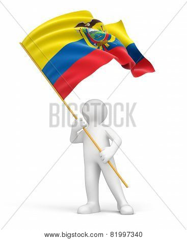 Man and Ecuadorian flag (clipping path included)