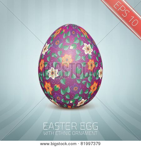 The Easter egg with a floral pattern ornament.