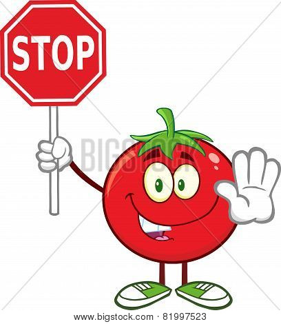 Tomato Cartoon Mascot Character Gesturing And Holding A Stop Sign