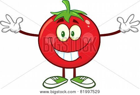 Tomato Cartoon Mascot Character With Open Arms For A Hug