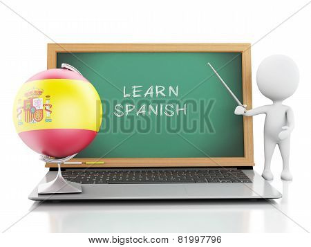 3d white people with laptop. Learn spanish concept.