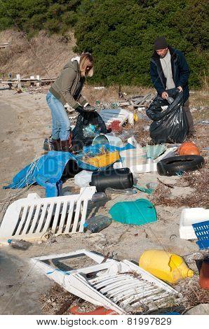 Clearing Beach Rubbish