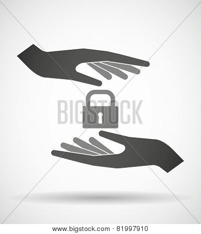Hands Protecting Or Giving A Lock Pad