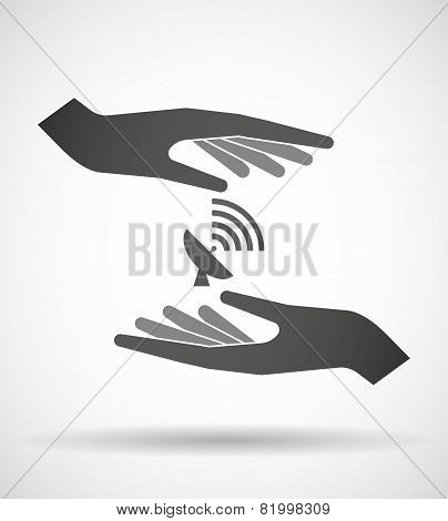 Hands Protecting Or Giving An Antenna