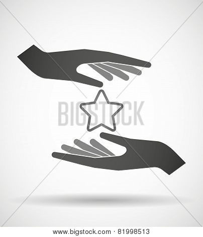 Hands Protecting Or Giving A Star