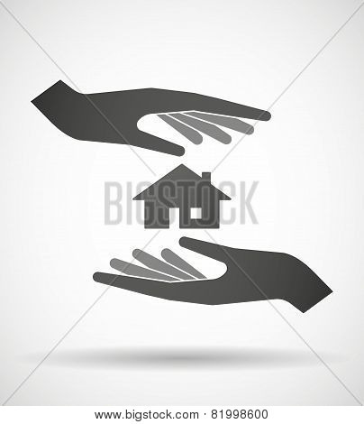 Hands Protecting Or Giving A House